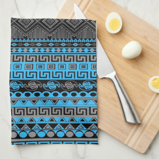 Cool summer trendy neon blue Aztec pattern Tea Towel