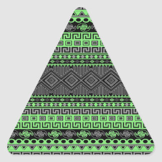 Cool summer trendy neon green grey black Aztec Triangle Sticker
