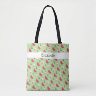Cool Summer Trendy Watermelon Fashion Print Name Tote Bag