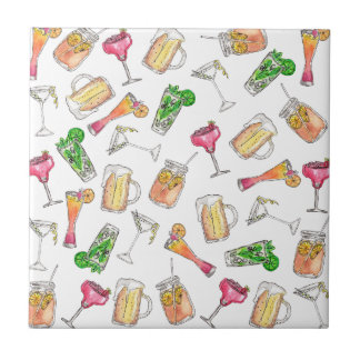 Cool Summer Watercolor Painted Mixed Drinks Patter Tile