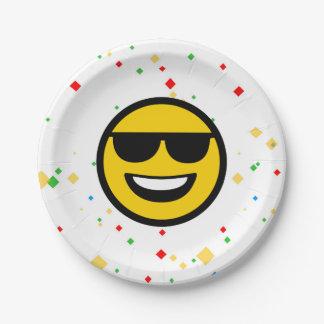 Cool Sunglasses Emoji 7 Inch Paper Plate