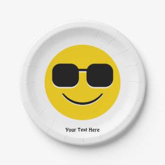 Cool Sunglasses Emoji Guy 7 Inch Paper Plate