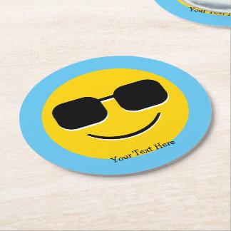 Cool Sunglasses Emoji Guy Round Paper Coaster