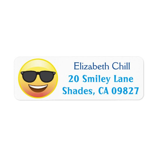 Cool Sunglasses Happy Emoji Return Address Label