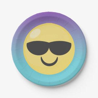 Cool Sunglasses Ombre Emoji Plates