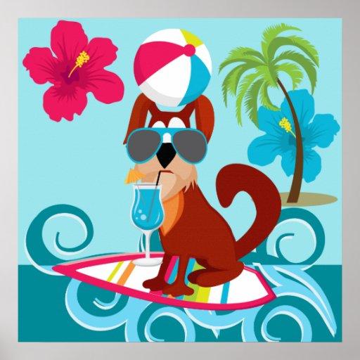 Cool Surfer Dog Surfboard Summer Beach Party Fun Print
