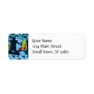 Cool Surfer Dude Surfing Beach Ocean Surf Waves Return Address Label