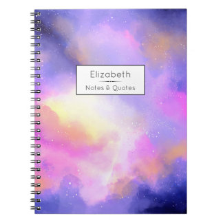 Cool Surreal Clouds Watercolor Design Spiral Notebook