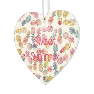 "Cool ""sweet summer"" watercolor pineapples pattern car air freshener"