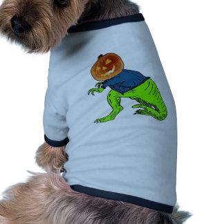 Cool T-Rex With a Jack O Lantern Head Ringer Dog Shirt