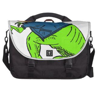 Cool T-Rex With a Jack O Lantern Head Laptop Bag