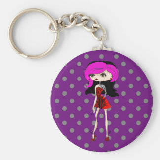 Cool Tattoo Girl Doll Design Basic Round Button Key Ring