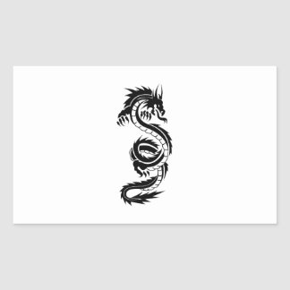 Cool tattoo style black dragon rectangular sticker