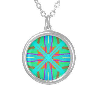 Cool Teal Aquamarine Contemporary Retro Round Pendant Necklace