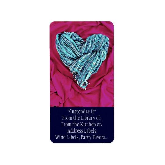 Cool Teal Blue Heart on Hot Pink Fabric Lovely Address Label