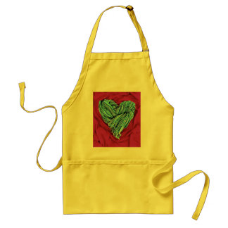 Cool Teal Blue Heart on Hot Pink Fabric Lovely Adult Apron