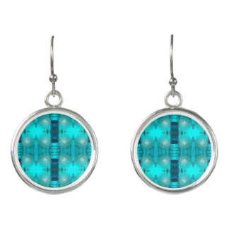 Cool Teal Blue Liquid Plastic Design 1264 Earrings