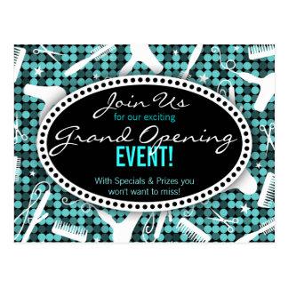 Cool Teal Glam Custom Hair Salon Event Postcard