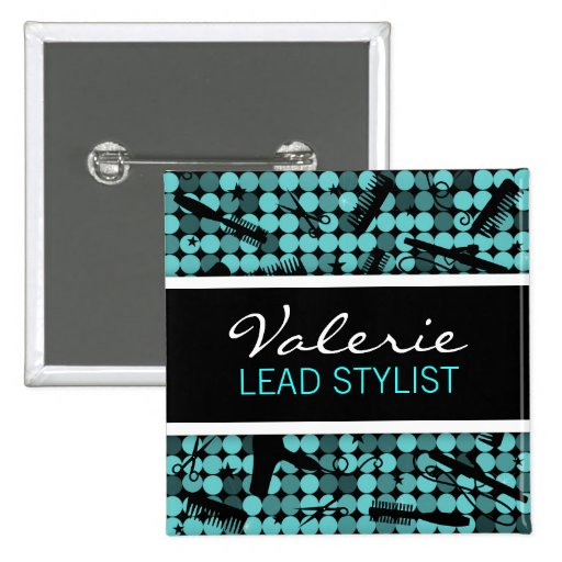 Cool Teal Glam Hair Salon Name Badge Buttons
