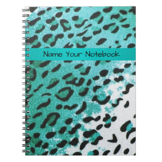 Cool Teal Leopard Print Personalized Notebook