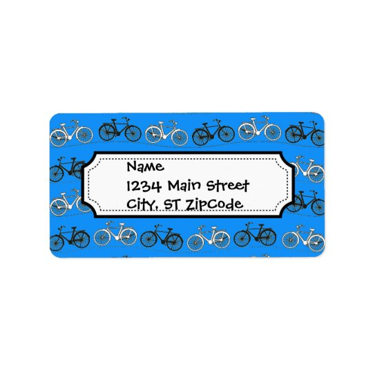 Cool Teal Turquoise Blue Vintage Bicycles Bikes Label