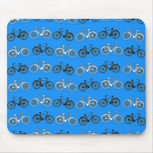 Cool Teal Turquoise Blue Vintage Bicycles Bikes Mouse Pads