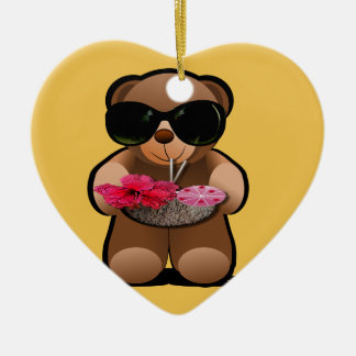 Cool Teddy Bear With Sunglasses Ceramic Heart Decoration