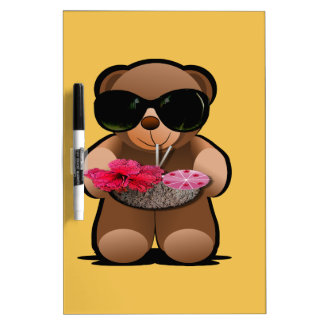 Cool Teddy Bear With Sunglasses Dry Erase White Board