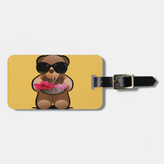 Cool Teddy Bear With Sunglasses Luggage Tag