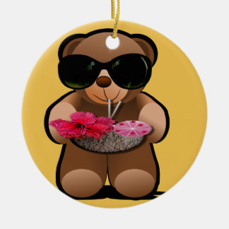 Cool Teddy Bear With Sunglasses Round Ceramic Decoration