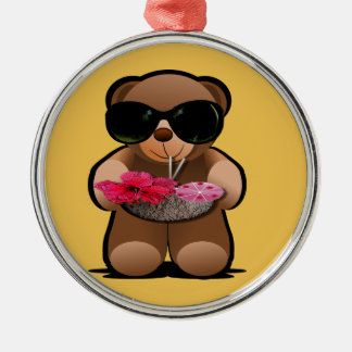 Cool Teddy Bear With Sunglasses Silver-Colored Round Decoration