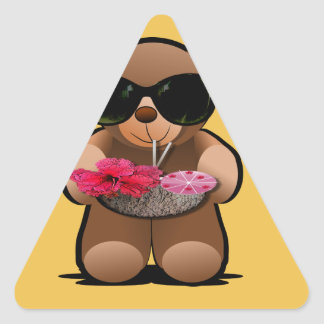 Cool Teddy Bear With Sunglasses Triangle Sticker