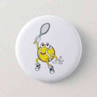 Cool Tennis Ball Holding Racquet 6 Cm Round Badge