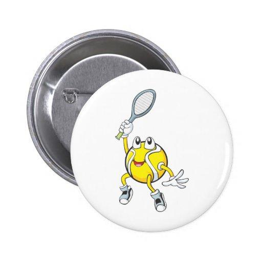 Cool Tennis Ball Holding Racquet Pinback Buttons