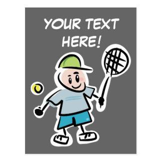Cool tennis postcard with nice cartoon