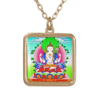 Cool tibetan thangka Shadakshari Avalokiteshvara Gold Plated Necklace