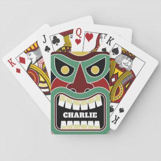 Cool Tiki Totem custom name playing cards
