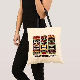 Cool Tiki Totems custom text tote bags