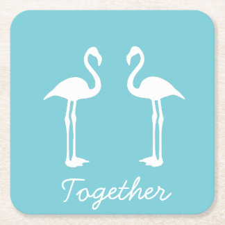 Cool Together Flamingo Couple Paper Coaster