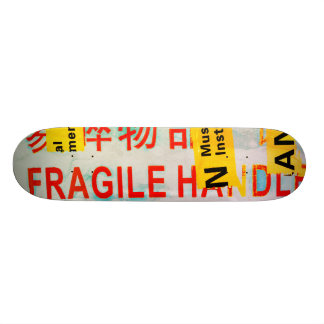 COOL Torn FRAGILE Marking w Chinese Characters 21.3 Cm Mini Skateboard Deck