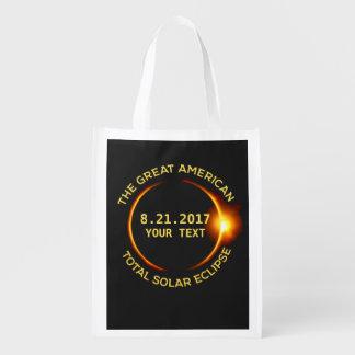 Cool Total Solar Eclipse 8.21.2017 USA Custom Text Reusable Grocery Bag