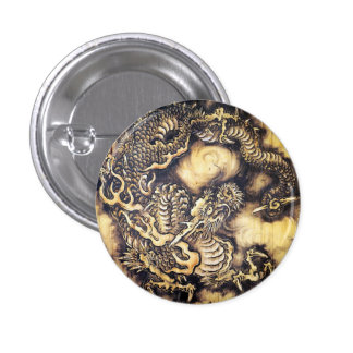 Cool traditional japanese oriental dragon wood art 3 cm round badge