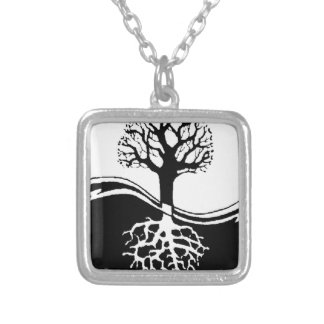 cool tree in black and white custom necklace