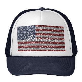 Cool trendy America flag shining faux glitter Cap