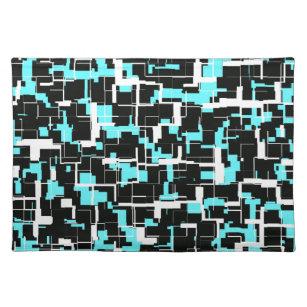 Cool Trendy Black White Blue Pattern Placemat