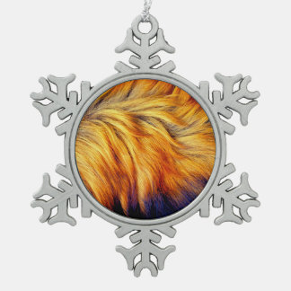Cool Trendy Brown Horse fur texture design Snowflake Pewter Christmas Ornament