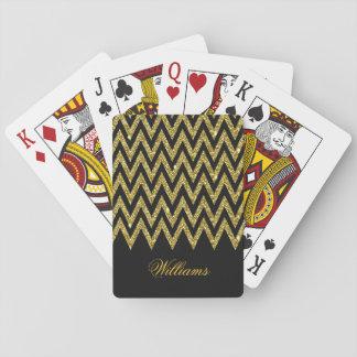 Cool trendy chevron zigzag gold faux glitter poker deck