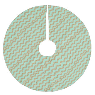 Cool Trendy Chevron Zigzag Mint Faux Gold Glitter Brushed Polyester Tree Skirt