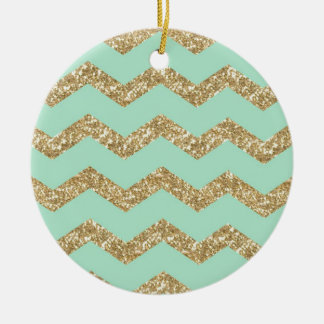Cool Trendy Chevron Zigzag Mint Faux Gold Glitter Ceramic Ornament