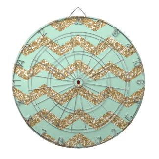 Cool Trendy Chevron Zigzag Mint Faux Gold Glitter Dartboard With Darts